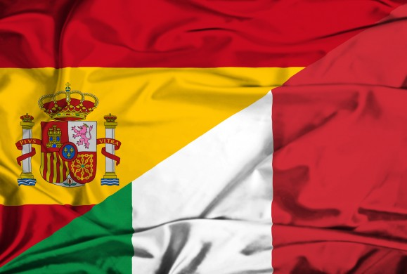 Waving flag of Italy and Spain