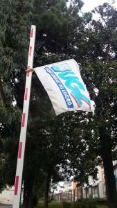 Bandiera dell'Ugl al presidio dei lavoratori dell'Istituto Martuscelli di Napoli